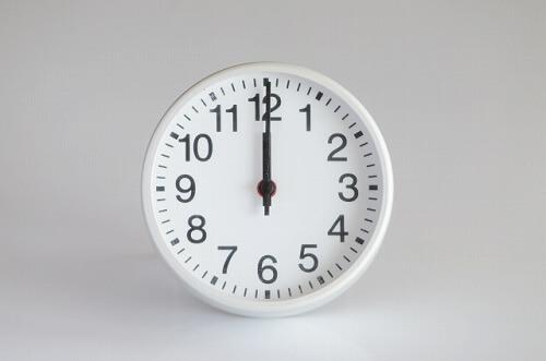 12時を指す時計