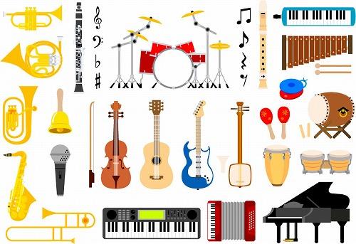 大量の楽器